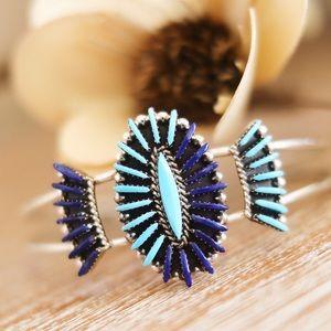Jewelry - Zuni Needlepoint Lapis & Turquoise Cuff Bracelet
